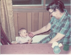 My grandmother with me as a baby
