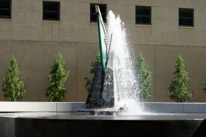 Sculpture with fountain, downtown Tulsa